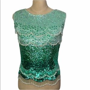 Vintage bead/sequin wool knit tank top